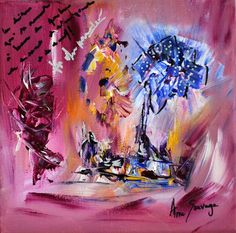 Manèges de fleurs, tableau contemporain d'AME SAUVAGE format 20 x 20 cm, 45 € https://www.amesauvage.com