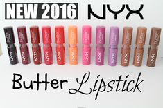 SWATCHES: NEW 2016 NYX Butter Lipstick Shades