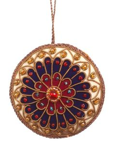 Exclusively produced for Westminster Abbey, this exquisite handmade decoration has been inspired by the Abbey's Rose Window. It combines zardozi thread, glass and pearl beads and velvet to add a touch of luxury to any Christmas tree. The reverse is em Zardozi Embroidery, Gold Embroidery, Fabric Gifts, Felt Fabric, Handmade Decorations, Christmas Decorations, Embroidered Christmas Ornaments, Merry Little Christmas, Christmas Tree