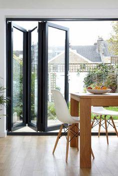 39 Ideas glass door design decks for 2019 Kitchen Patio Doors, Bi Fold Patio Doors, Kitchen Bifold Doors, Bifold Exterior Doors, Bi Folding Doors Kitchen, Bi Fold Doors, Bifold Doors Onto Patio, Double Doors, Wooden Bifold Doors