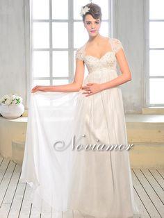 UK 2013 Cap Sleeve Concealed Side Zip Chiffon Wedding Gown BU101 [BU101]-Noviamor