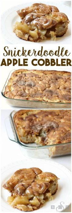 Snickerdoodle Apple Cobbler. Vanilla ice-cream or whipped cream on top is a must! Köstliche Desserts, Apple Desserts, Apple Recipes, Delicious Desserts, Dessert Recipes, Yummy Food, Apple Fritter Recipes, Cinnamon Desserts, Bread Recipes
