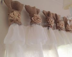 This White linen and burlap ruffles curtains - wide ruched tabs - Tea dyed rosette is just one of the custom, handmade pieces you'll find in our home décor shops. Ruffle Curtains, Tab Curtains, Burlap Curtains, Window Coverings, Window Treatments, Rideaux Design, Fabric Rosette, Chic Shop, Burlap Crafts