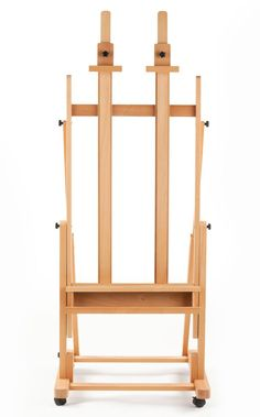 "32.5"" Wood Studio Easel for Floor with Tilt, Adjustable Shelf, Wheels - Natural (displays2go.com)."
