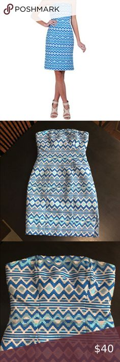 Badgley Mischka Aztec Blue Dress Size 4 Size 4  Worn 1x. Good condition Badgley Mischka Dresses Mini