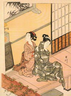 坐鋪八景 時計の晩鐘 Evening Bell of the Clock, from the series Eight Views of the Parlor (Zashiki hakkei)