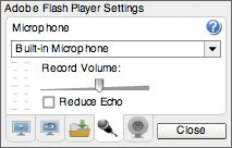 Adobe - Flash Player : Help - Microphone settings