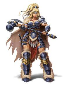 Female Barbarian - Pathfinder PFRPG DND D&D d20 fantasy