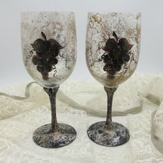 Painted Old World Charm Wineglasses  Rich by PaintedDesignsByLona, $55.00