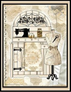 Add Dimension to your Journal Cover Collage with the addition of two Decoupage Sheets with the 8 Clipart Graphics used in the creation of the Sewing Cabinet Scene. Cut out the additional elements, lay