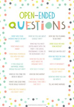 20 Open Ended Questions for Kids Get examples of open ended questions for preschoolers with these conversation starters! Perfect for kids to practice creative and critical thinking skills. Conversation Starters For Kids, Conversation Ideas, Conversation Starter Questions, English Conversation For Kids, Preschool Activities, Family Activities, Babysitting Kit, Creative Curriculum Preschool, Yoga Meditation