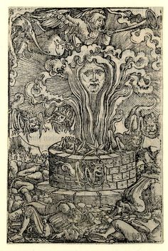 """""""The Star falling into the Pit of Hell and the Plague of Locusts; above an angel blowing a trumpet. On verso part of another illustration to the Apocalypse."""" Georg Lemberger - Woodcut Illustrations to an unidentified New Testament edition. 1523"""
