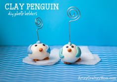 Cute Clay Penguin Craft + Homemade Air Dry Clay Recipe is part of Kids Crafts Clay Cold Porcelain These sweet homemade cold porcelain recipe clay penguin wire holders work great for your notes, busi - Clay Crafts For Kids, Bird Crafts, Easy Diy Crafts, Crafts To Make, Kids Clay, Rock Crafts, Animal Crafts, Emoji Craft, Penguin Craft