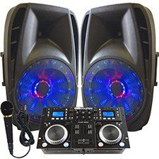 Gemini CDM-4000 this lighted speaker DJ System is Great for DJ, backyard weddings, graduation parties, karaoke contests, pool parties, coffee house performances, recitals, reunions, anniversary observations and more. It comes complete with a Gemini Sound CDM-4000 Dual CD Player / DJ Audio Mixer Combo, Two 800 Watt Powered Lighted speakers, a microphone and all the cables you need to hook it