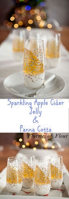 This is what holiday dreams are made of: sweet, effervescent sparkling apple cider gelatin mixed with creamy panna cotta. Quick and simple to make!