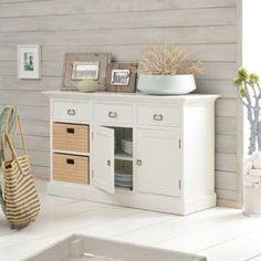 Buffet en bois peint blanc satiné 2 tiroirs pin… - Achat / Vente BUFFET - BAHUT Buffet blanc et pin 135 Britz - Cdiscount