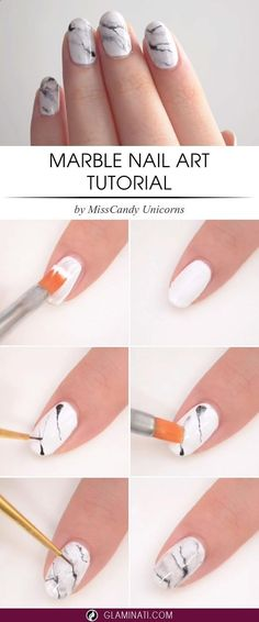 DIY Marble nail art design tutorial | step by step marble nails #nailart #nails