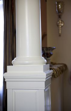 A closer look at one of our wood colonial and round columns. Interior Design Website, Interior Design Living Room, Living Room Designs, Interior Decorating, Front Porch Columns, Wood Columns, Colonial, Pillar Design, Square Columns