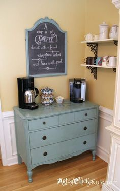 """""""Coffee/Tea Bar"""" Server w/Shelves --- Old Antique Dresser to Coffee Bar. (with Annie Sloan Chalk Paint & Graphics) In place of the hutch? Fill with canned goods, decorate with a shelf of cookbooks and we have our own coffee/tea bar! Coffee Nook, Coffee Corner, Coffee Bars, Coffee Latte, Coffee Island, Coffee Meme, Coffee Signs, Coffee Tables, Cafe Bar"""