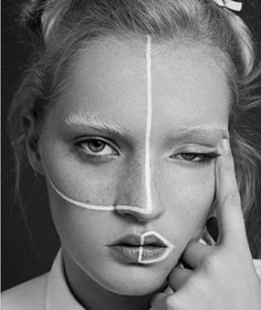 #Creative #Makeup #Beauty #White #Lines
