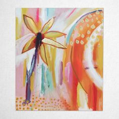 SUMMER DREAMING, 510 x 610 mm Colorful Paintings, Contemporary Paintings, Summer Dream, Stretched Canvas, Gold Foil, Original Paintings, Abstract Art, Touch, The Originals
