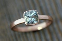 """well this is perfect. I don't normally post """"rings"""" but this is just too humbly beautiful not to. Aquamarine Gemstone in Recycled Rose Gold"""