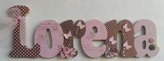 Nome decorado em MDF e Scrap personalizado para decoração de quarto, porta maternidade, festas... Tema e cores a sua escolha R$ 80,08