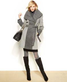 Calvin Klein Shawl-Collar Colorblocked Coat - Coats - Women - Macy's