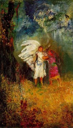 Odilon Redon - Jacob's struggle with the Angel