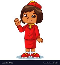 Stewardess girl in red suit preparing for a flight vector image on VectorStock