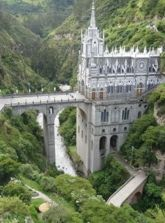 This unusually constructed Cathedral bridges a river gorge in Las Lajas, Colombia.