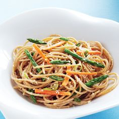Sesame Noodles with Asparagus & Carrots Recipe - Tahini, a paste made ...