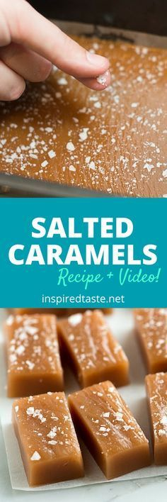 These salted caramels are soft, chewy and perfectly melt away in your mouth. See the full recipe and watch the quick recipe video on inspiredtaste.net