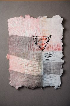 Tenuous Container by Nancy Childs  -  Monoprint on handmade paper,