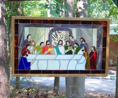 Last Supper stained glass by AColorfulCreation (Etsy)