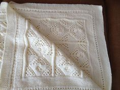Baby blanket knitting crochet -embroidered- in ivory color- 100% cotton  Κουβερτούλα με πλέξιμο βελονάκι για μωρά- κέντημα- 100% βαμβάκι Baby Blankets, Knit Crochet, Knitting, Tricot, Cast On Knitting, Chrochet, Stricken, Weaving, Baby Quilts