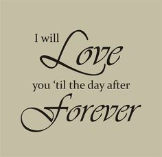 I will love you til the day after forever