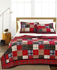 Inspiration - Martha Stewart Collection Plaid Patchwork Quilts - All Martha Stewart Bed & Bath - Bed & Bath - Macy's Colchas Quilt, Man Quilt, Boy Quilts, Quilt Blocks, Flannel Quilts, Plaid Quilt, Quilts Online, Fabric Online, Queen Quilt