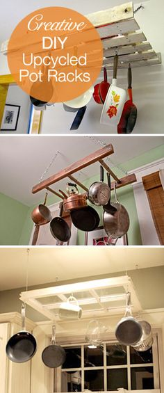 Creative DIY Upcycle Pot Rack Ideas!  Hang a pallet, part of a wooden ladder or use an old window for a pot & pan hanger!