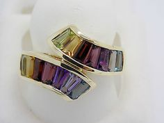 3.7 Ct Multi Gem Ring 14k - Peridot Iolite Rhodolite Amethyst Citrine  - NEW 5gr