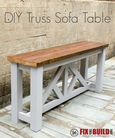 Build this DIY Truss Sofa Table from 4x4 and 2x4's.  Would make a great console or entry table too!  Full build tutorial inside.