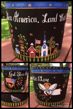 Tole Decorative Paintings, Tole Painting, Artist Painting, Rosemary West, Americana Crafts, Pintura Country, Imagines, God Bless America, Coffee Cans