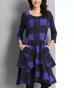 Loving this Blue Buffalo Check Layered Pocket Dress on #zulily! #zulilyfinds