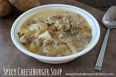 Spicy Cheeseburger Soup | Love Bakes Good Cakes