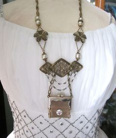 Repurposed Vintage Purse Necklace Long Statement by jryendesigns