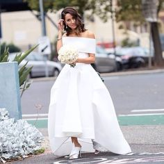 """Off the shoulder, crisp white. Love the soft curls and the contrast of """" spunk"""" that the shoes bring."""