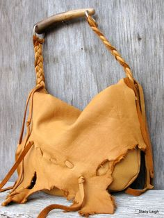 Dusk Brown Elkskin Rustic Lover's Natural Edge Bag by stacyleigh