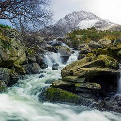 'Snow Covered Tryfan' by Ian Mitchell Framed Prints, Canvas Prints, Art Prints, Snowdonia National Park, North Wales, Waterfalls, Art Boards, Decorative Throw Pillows, Travel Mug