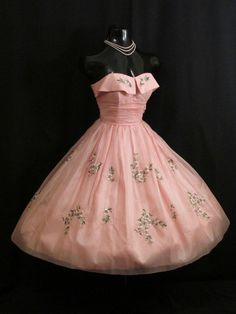 Vintage 1950's 50s STRAPLESS PINK Embroidered Silk Organza Prom Party DRESS in Dresses | eBay