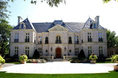 Custom Home Design | Dallas Architect | Fusch Architects French Mansion, French Chateau Homes, French Style Homes, French Architecture, Traditional Exterior, French Country House, My Dream Home, Beautiful Homes, House Design